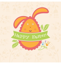 Concept Easter card with egg and bunny vector image