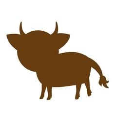 Cow farm animal silhouette icon vector