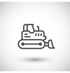 Crawler bulldozer line icon vector