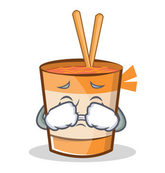 Crying cup noodles character cartoon vector