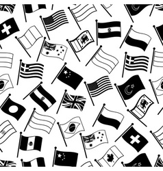 Curved flags of different country seamless pattern vector