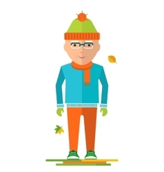 elderly man on autumn walk vector image