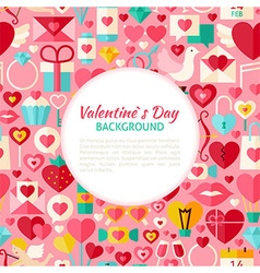 Flat Valentine Day Pattern Background vector image vector image
