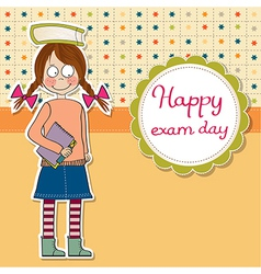 Funny young student girl before exam vector