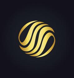 Gold abstract circle eco logo vector