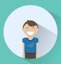 Happy boy smiling round icon vector