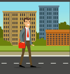 happy man in official clothes walking down the vector image