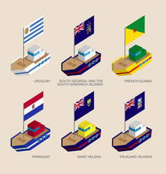 isometric ships with flags of south america vector image vector image