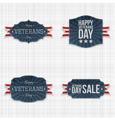 National veterans day labels with ribbons vector