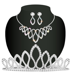 necklace diadem and earrings with white precious s vector image