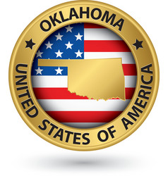 Oklahoma state gold label with state map vector