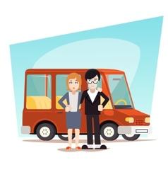 Retro cartoon family with car travel van icon vector