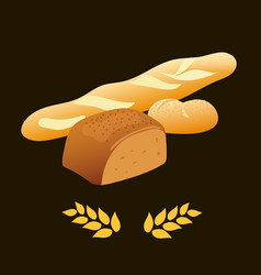 Rye bread french baguette wheat bread vector