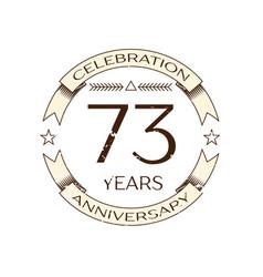 Seventy three years anniversary celebration logo vector