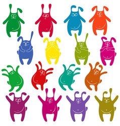 Sixteen thick funny rabbit stencils vector