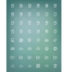 Thin line document icons set for web and mobile vector image