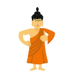 Buddha thumbs up and winks indian god shows well vector