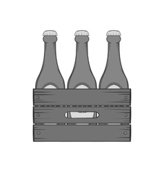 Beer bottles in a wooden box icon vector