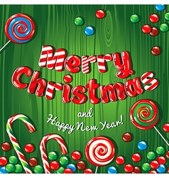 Christmas card poster banner with candies on a vector