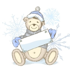 Card with toy bear in hat vector