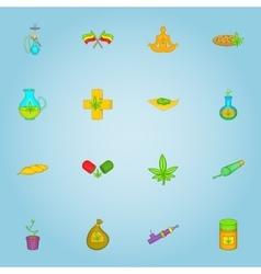 Marijuana icons set cartoon style vector image
