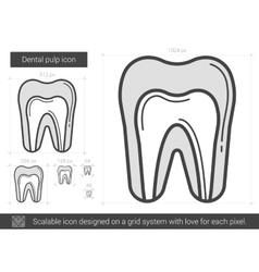 Dental pulp line icon vector
