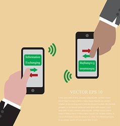 Hand with smart phone are exchanging data via wifi vector