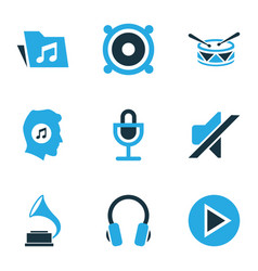 Music colored icons set collection of mute vector