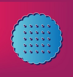 round biscuit sign  blue 3d printed icon vector image