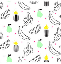 Sketch line fruit salad seamless pattern vector
