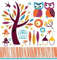 Cute autumn owls and design elements vector image