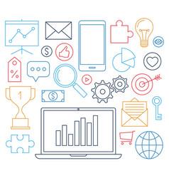 Marketing symbols digital media line business vector