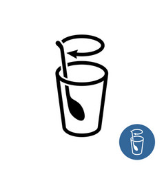 Stirring icon stir well outline style symbol vector