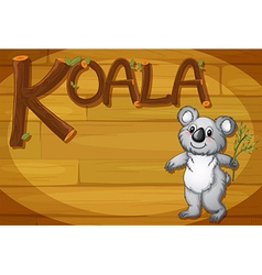 A wooden frame with a koala vector
