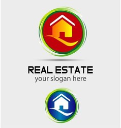 House home logo round icon vector