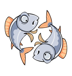 Two mirrored cartoon fish vector