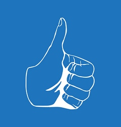 Hand drawn thumbs up isolated on white background vector