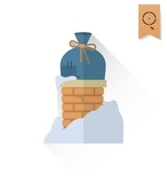 Christmas gift in chimney vector