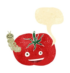 Cartoon tomato with bug with speech bubble vector