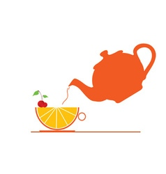 Teapot with fruit vector