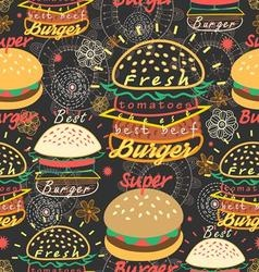Graphic seamless pattern bright tasty burgers on a vector