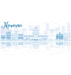 Outline havana skyline with blue buildings vector