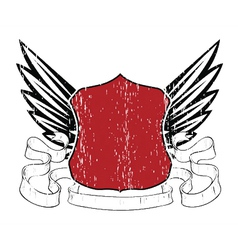 emblem with shield and wings vector image