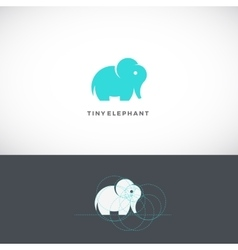 Tiny elephant abstract logo template sign vector