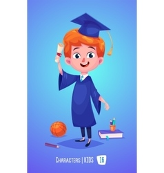 Cute boy with diploma ball and book  back to vector
