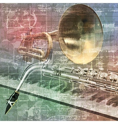 abstract grunge sound background with trumpet vector image vector image