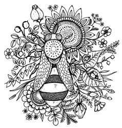 Beautiful with bee flowers and berries vector