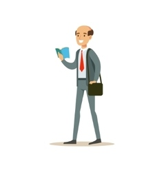 Bold man teacher walking reading a book smiling vector