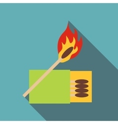 Box of matches and burning match icon flat style vector