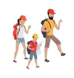 Family hiking concept vector
